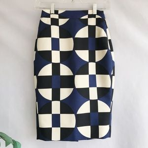 J Crew No. 2 Pencil Skirt Graphic Print Geometric